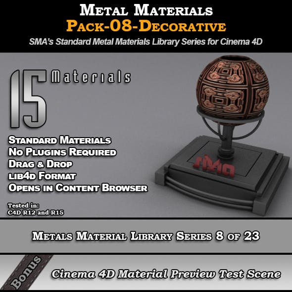 Metals Material Pack-08-Decorative for Cinema 4D