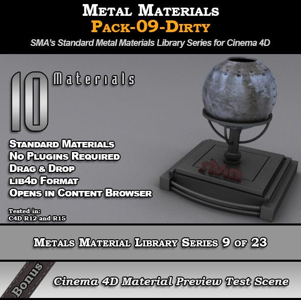 Metals Material Pack-09-Dirty for Cinema 4D - 3DOcean Item for Sale