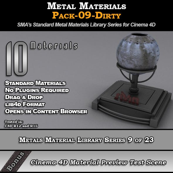 Metals Material Pack-09-Dirty for Cinema 4D