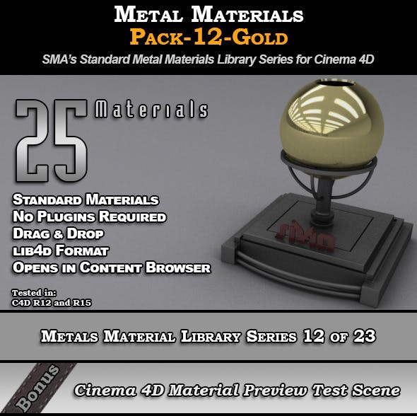 Metals Material Pack-12-Gold for Cinema 4D by smabukhari