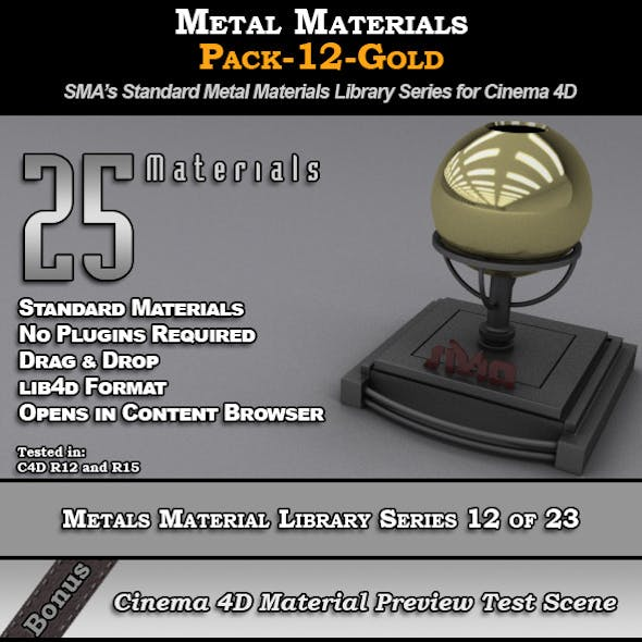 Metals Material Pack-12-Gold for Cinema 4D