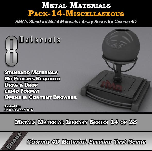 Metals Material Pack-14-Misc for Cinema 4D - 3DOcean Item for Sale