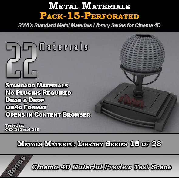 Metals Material Pack-15-Perforated for Cinema 4D - 3DOcean Item for Sale