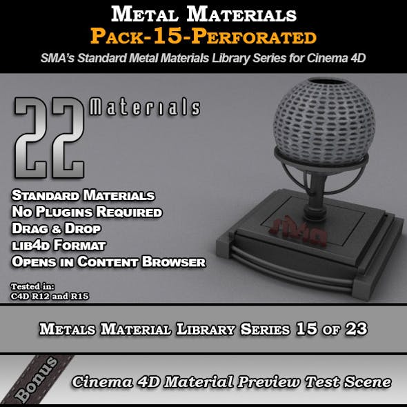 Metals Material Pack-15-Perforated for Cinema 4D
