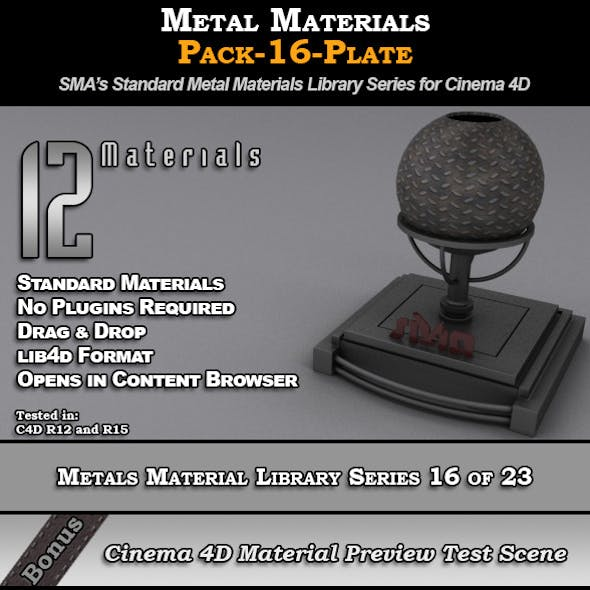 Metals Material Pack-16-Plate for Cinema 4D