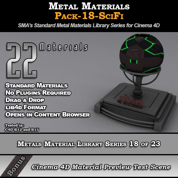 Metals Material Pack-18-SciFi for Cinema 4D - 3DOcean Item for Sale
