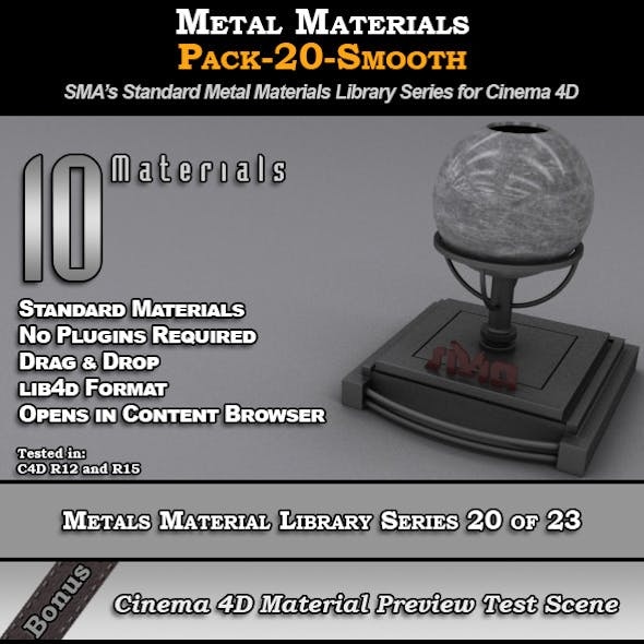 Metals Material Pack-20-smooth for Cinema 4D
