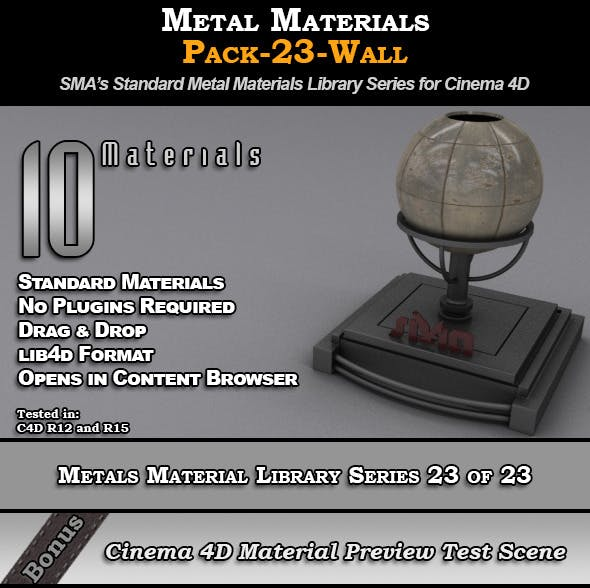 Metals Material Pack-23-Wall for Cinema 4D - 3DOcean Item for Sale
