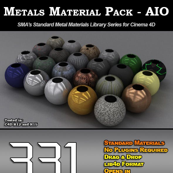 331 Standard Metal Materials Pack AIO for C4D