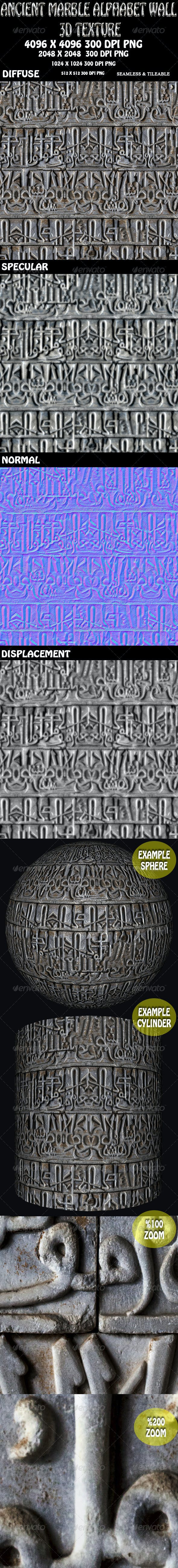Ancient Alphabet Marble Wall 3D Texture - 3DOcean Item for Sale