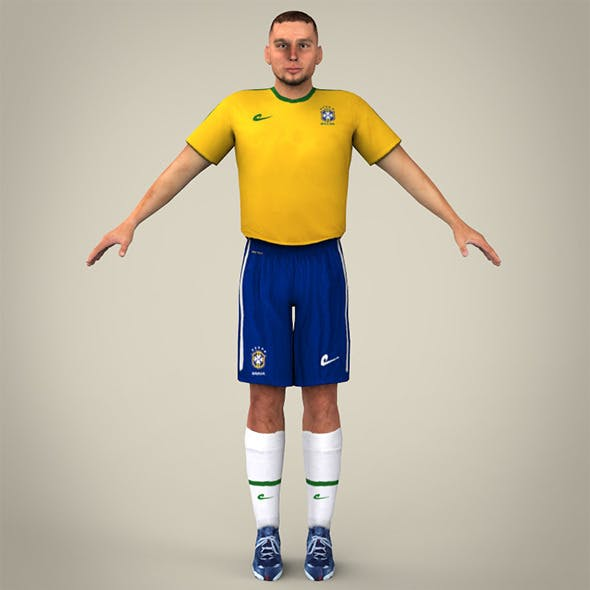 Yello Blue Uniformed Football Player