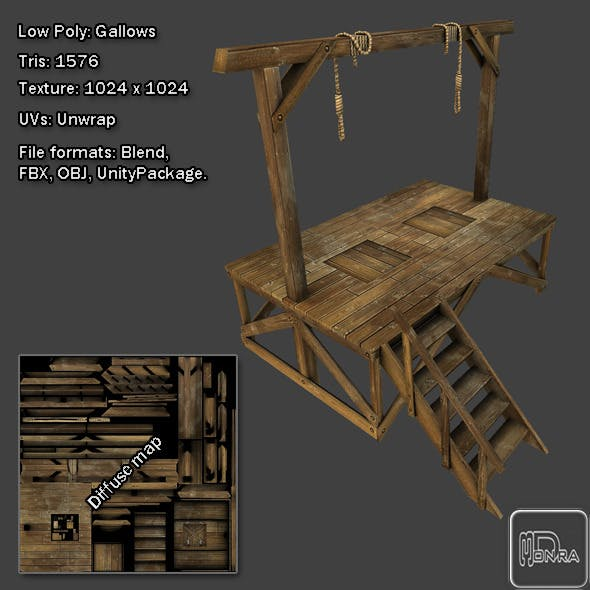 Low Poly: Gallows - 3DOcean Item for Sale