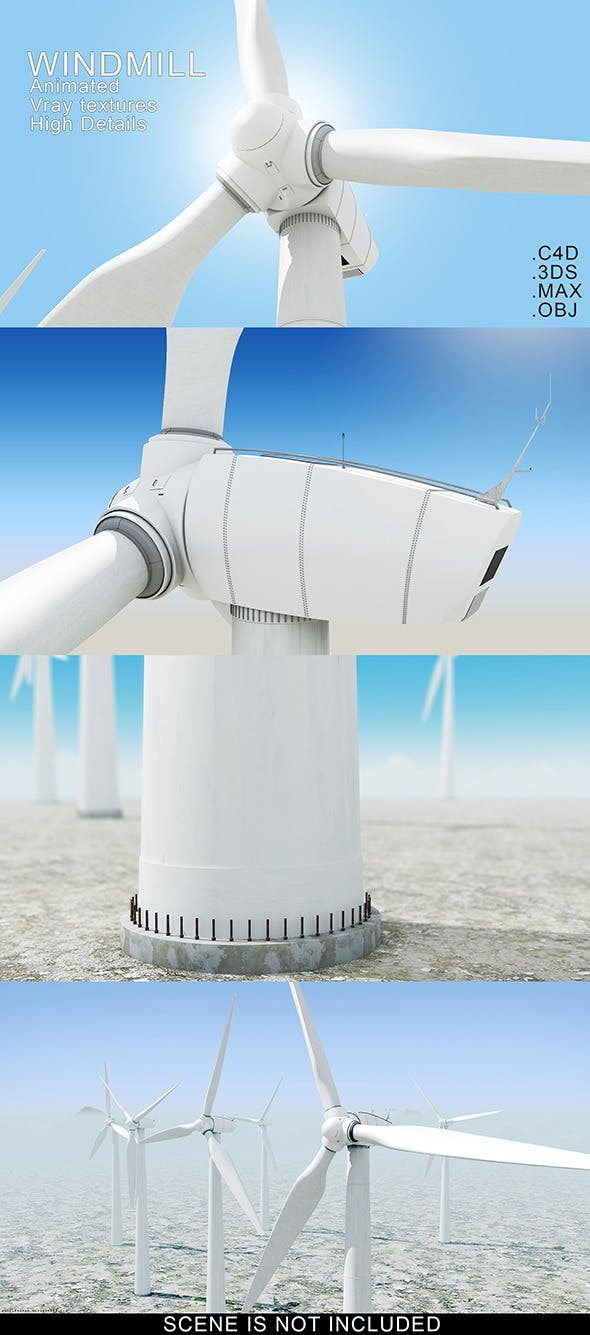 Animated Windmill Model - 3DOcean Item for Sale