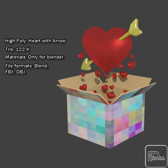 High Poly: Heart with Arrow