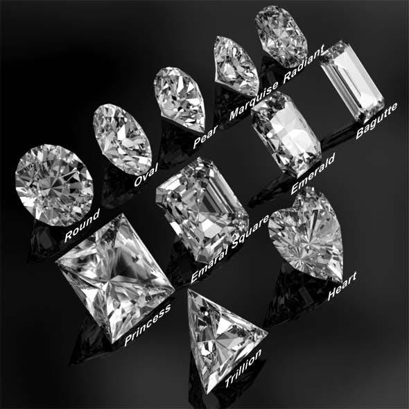 Diamonds all 11 cuts - 3DOcean Item for Sale