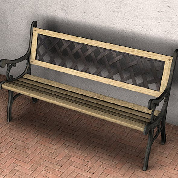 Garden Bench - Low Poly