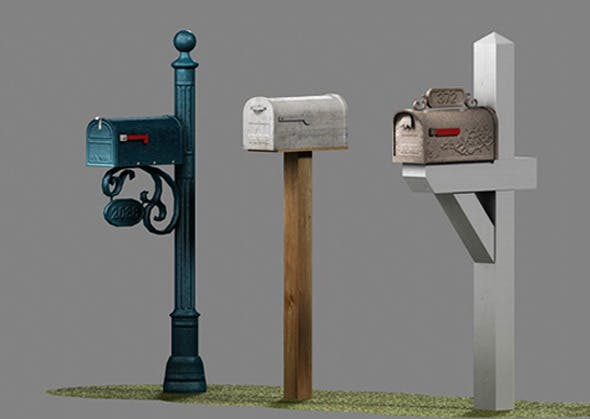 US Mailboxes Pack - Low Poly - 3DOcean Item for Sale