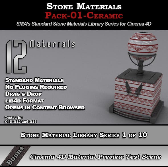 Standard Stone Material Pack-01-Ceramic for C4D - 3DOcean Item for Sale