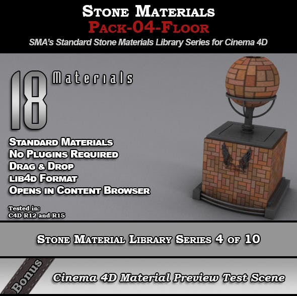 Standard Stone Material Pack-04-Floor for C4D - 3DOcean Item for Sale