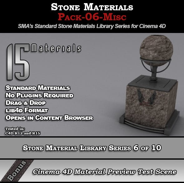 Standard Stone Material Pack-06-Misc for Cinema 4D - 3DOcean Item for Sale