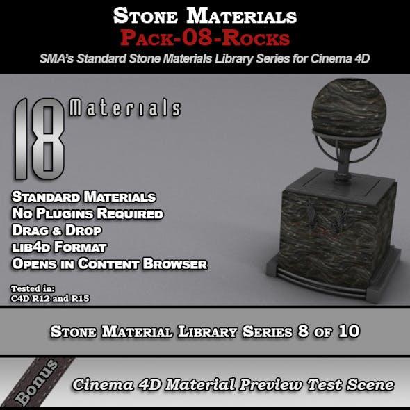 Standard Stone Material Pack-08-Rocks for C4D