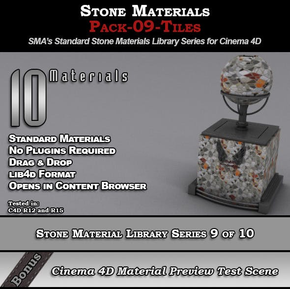 Standard Stone Material Pack-09-Tiles for C4D - 3DOcean Item for Sale