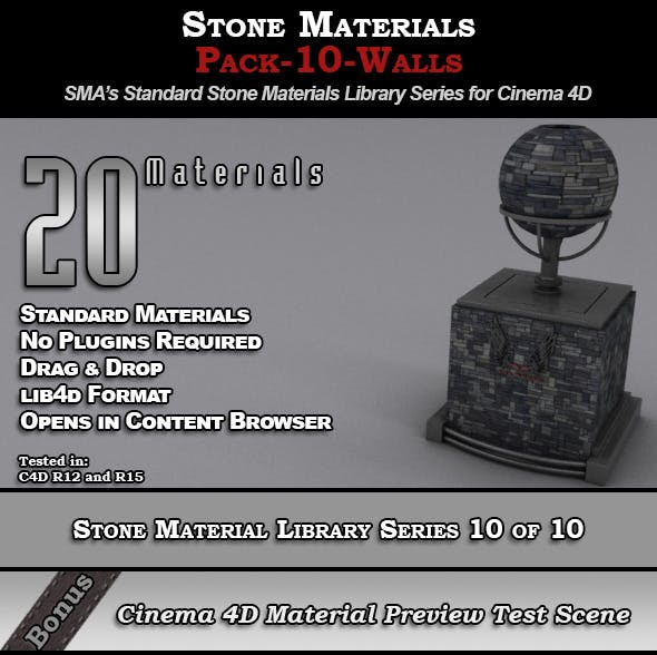 Standard Stone Material Pack-10-Walls for C4D - 3DOcean Item for Sale