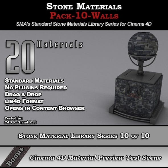 Standard Stone Material Pack-10-Walls for C4D