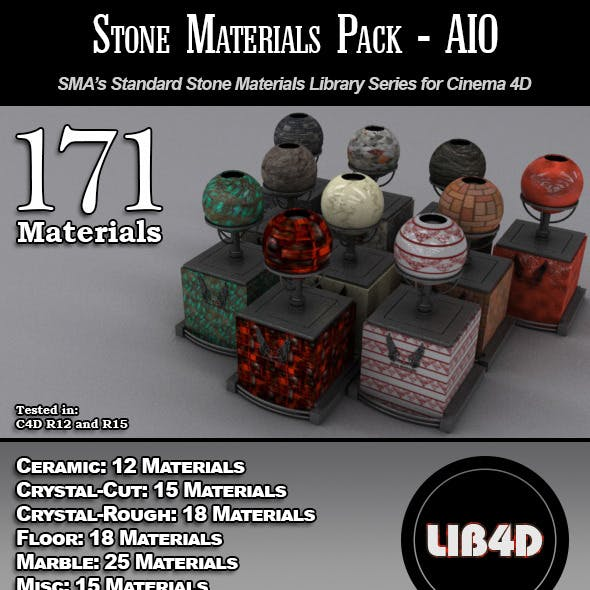 171 Standard Stone Materials Pack AIO for C4D