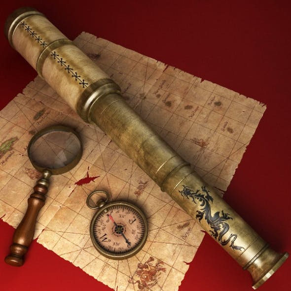 Telescope, Magnifying Glass, Compass - 3DOcean Item for Sale