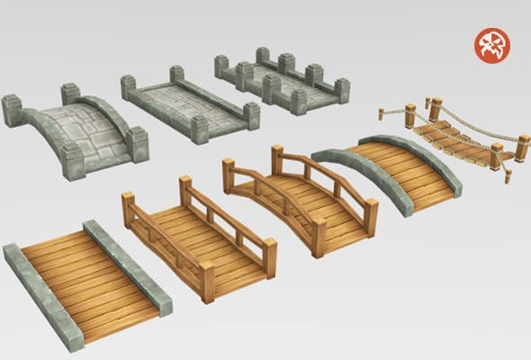 Low Poly Tileable Bridges - 3DOcean Item for Sale