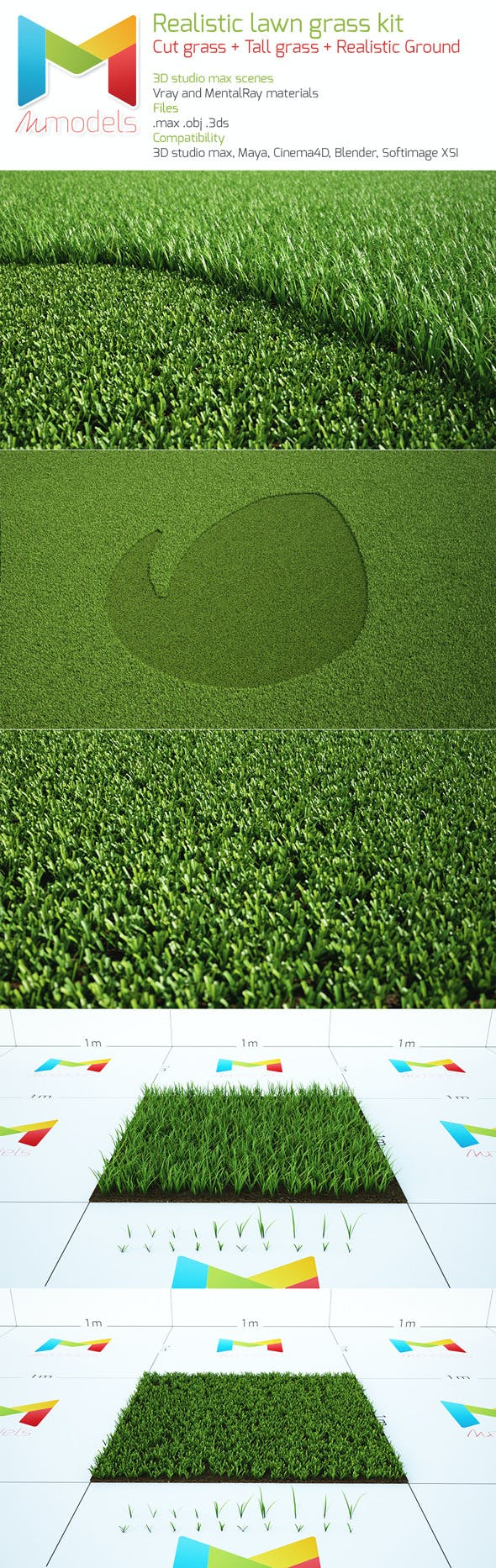 Realistic lawn grass kit - 3DOcean Item for Sale