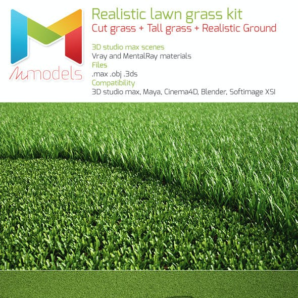 Realistic lawn grass kit