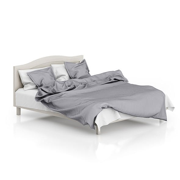 Wooden Bed with Grey Bedclothes