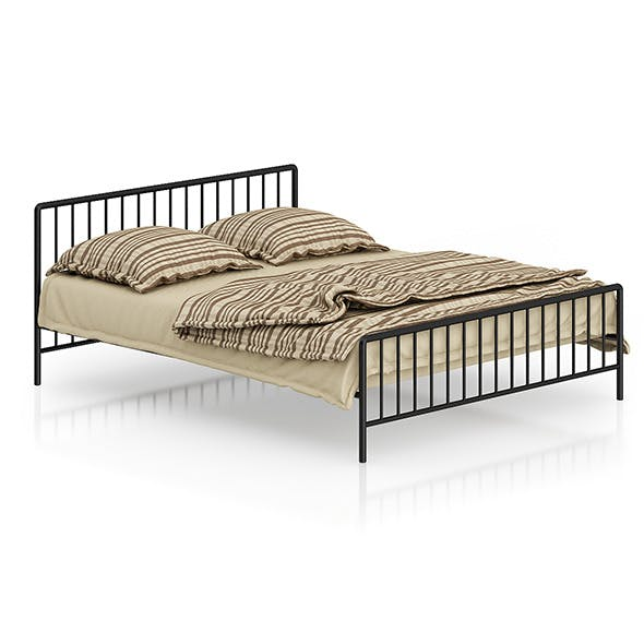 Metal Bed with Striped Bedclothes - 3DOcean Item for Sale