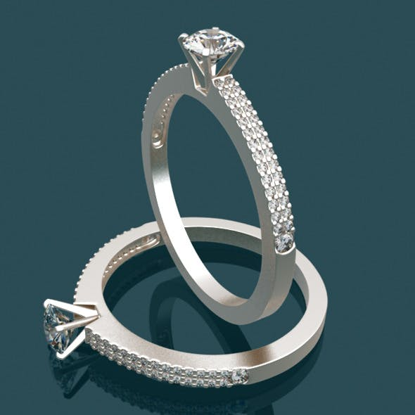 Solitaire Ring with Diamond - 3DOcean Item for Sale