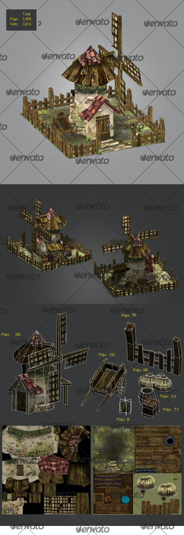 Low poly Windmills, old carriage,wood box  - 3DOcean Item for Sale