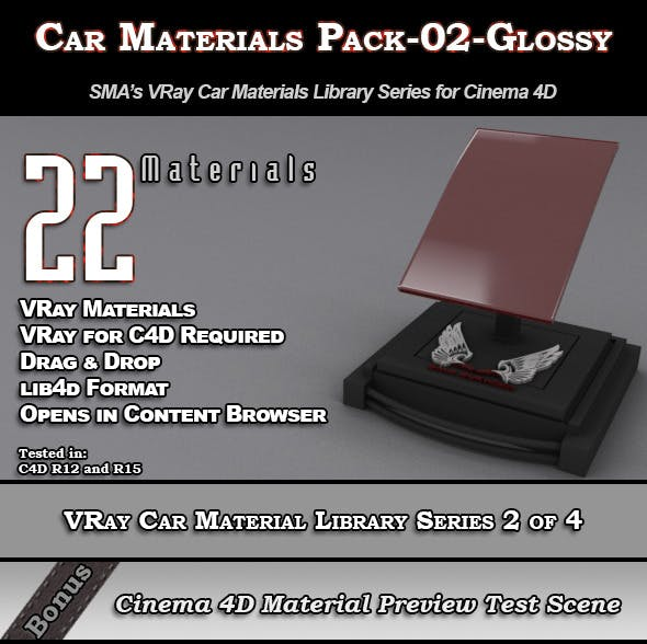 22 VRay Car Materials Pack-02-Glossy for Cinema 4D - 3DOcean Item for Sale