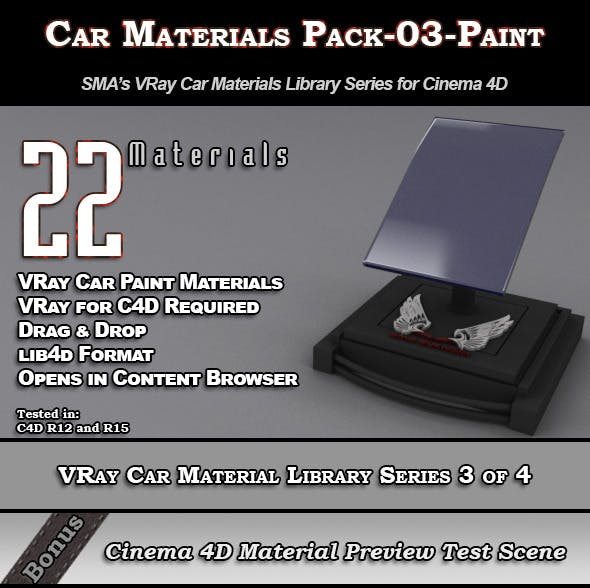 22 VRay Car Materials Pack-03-Paint for Cinema 4D - 3DOcean Item for Sale