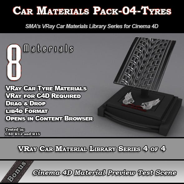 8 VRay Car Materials Pack-04-Tyres for Cinema 4D by
