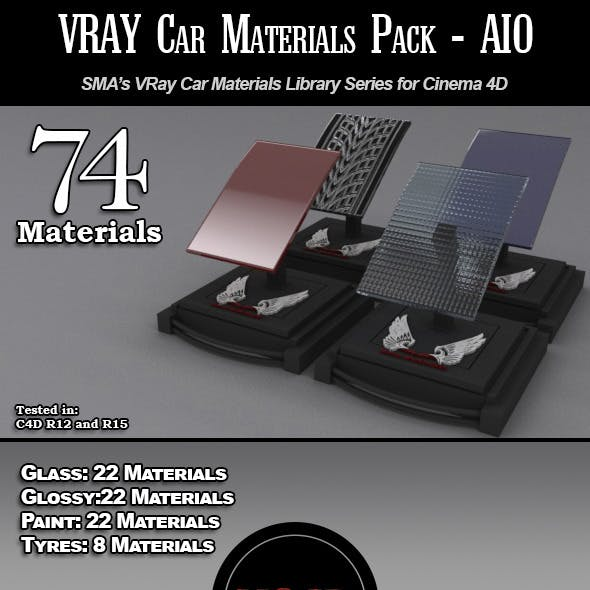74 Car Materials Pack-AIO for Cinema 4D