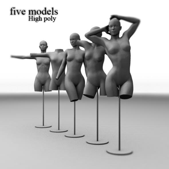 Five different Mannequins dolls base mesh