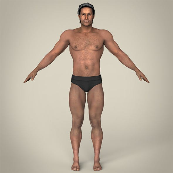 Realistic African Muscular Male - 3DOcean Item for Sale