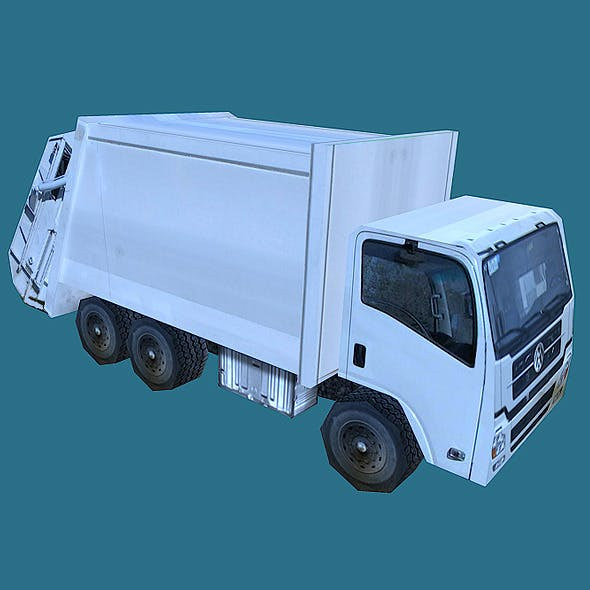 Low Poly Garbage Truck Model
